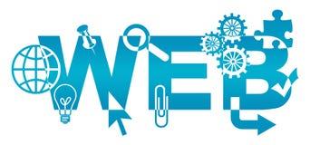 Diversos símbolos del web azules Fotos de archivo