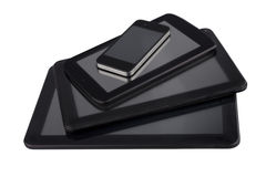 3 diversos tamaños de tabletas con smartphone Foto de archivo