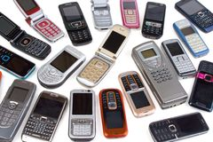 Diversos teléfonos celulares imagen de archivo libre de regalías