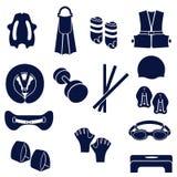 Diversos tipos de accesorios para nadar libre illustration