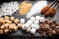 Diversos tipos de azúcar Fotos de archivo