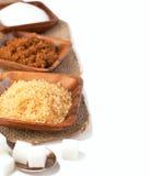Diversos tipos de azúcar - azúcar del Demerara, de Brown, blanco y refinado Imágenes de archivo libres de regalías