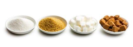 Diversos tipos de azúcar Foto de archivo libre de regalías