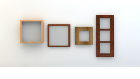 Diversos tipos de bastidores vacíos en una pared blanca Imágenes de archivo libres de regalías
