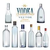 Diversos tipos de botellas de la vodka Ilustración del vector ilustración del vector