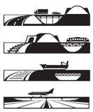 Diversos tipos de caminos con los vehículos Fotos de archivo