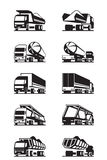 Diversos tipos de camiones con los remolques Fotografía de archivo libre de regalías