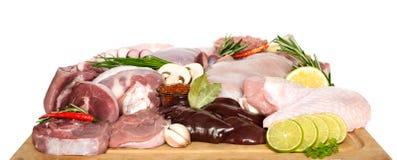 Diversos tipos de carne y de pollo, filetes del pavo imagen de archivo libre de regalías