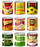 Diversos tipos de comida adentro pueden ilustración del vector