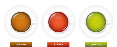 Diversos tipos de fruta negra del té y de té verde en las tazas blancas libre illustration