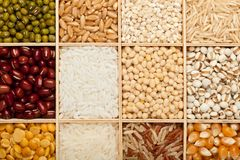 Diversos tipos de granos y de habas Fotos de archivo