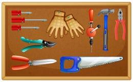 Diversos tipos de herramientas a bordo ilustración del vector