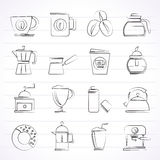 Diversos tipos de iconos de la industria del café Imagen de archivo
