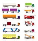 Diversos tipos de iconos de los carros y de los camiones Fotografía de archivo