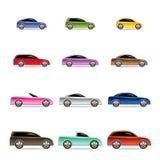 Diversos tipos de iconos de los coches ilustración del vector