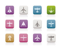 Diversos tipos de iconos planos Imagen de archivo libre de regalías