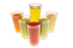 Diversos tipos de jugos Fotos de archivo