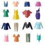 Diversos tipos de la ropa de las mujeres como iconos planos bicolores ilustración del vector