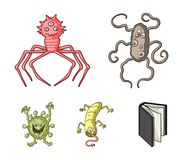 Diversos tipos de microbios y de virus Los virus y las bacterias fijaron iconos de la colección en la acción del símbolo del vect Imagen de archivo libre de regalías