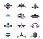 Diversos tipos de naves espaciales Imagen de archivo libre de regalías