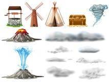 Diversos tipos de objetos y de nubes stock de ilustración
