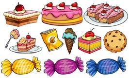 Diversos tipos de postres en blanco stock de ilustración