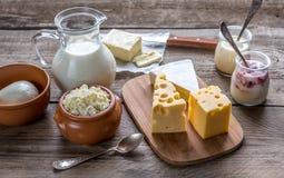Diversos tipos de productos lácteos Fotos de archivo
