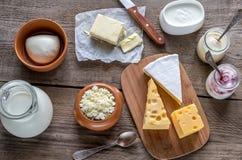 Diversos tipos de productos lácteos Imagenes de archivo
