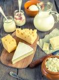 Diversos tipos de productos lácteos Imágenes de archivo libres de regalías