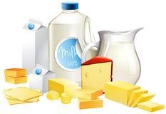 Diversos tipos de productos lácteos stock de ilustración