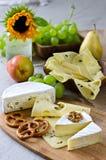 Diversos tipos de queso con las frutas y las nueces imagenes de archivo