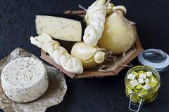 Diversos tipos de queso en un fondo negro Disco del queso fotos de archivo