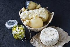 Diversos tipos de queso en un fondo negro Disco del queso foto de archivo