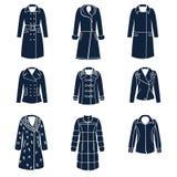 Diversos tipos de ropa del invierno de las mujeres stock de ilustración