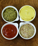 Diversos tipos de salsas Fotos de archivo
