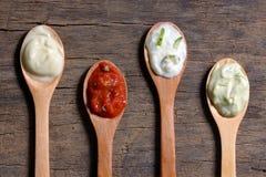 Diversos tipos de salsas Fotografía de archivo