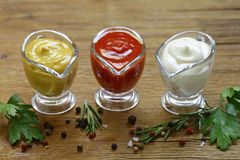 Diversos tipos de salsas en salsas Foto de archivo