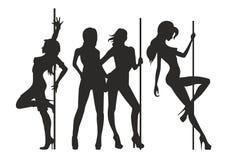 Diversos tipos de silhueta 'sexy' do strip-tease da mulher das mulheres ilustração royalty free