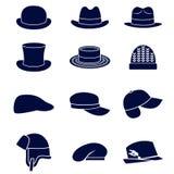 Diversos tipos de sombreros de los hombres ilustración del vector