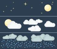 Diversos tipos de tiempo Noche e invierno Ejemplo plano del vector Símbolos e iconos del tema del tiempo Fotografía de archivo libre de regalías