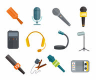 Diversos tipos iconos de los micrófonos del vector Foto de archivo