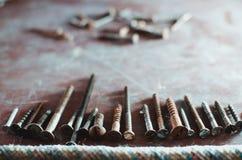 Diversos tornillos y pernos Imagen de archivo