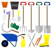 Diversos utensilios de jardinería stock de ilustración