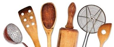 Diversos utensilios de la cocina para cocinar Foto de archivo libre de regalías
