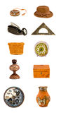 Diversos viejos objetos y colección clasificados de las herramientas Foto de archivo libre de regalías