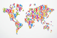Diverstiy people concept world map. Multicolored diversity people in Globe map shape isolated. Vector file layered for easy manipulation and custom coloring Stock Images
