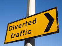 Diverted traffic sign Royalty Free Stock Photos