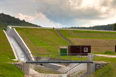 Diverted water at the dam. Flooding and heavy rain in the Czech Republic Stock Image