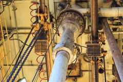 Diverter and Low Pressure Riser Under the Rig Floor Royalty Free Stock Images