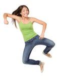 Divertido de salto de la mujer aislado Imagen de archivo libre de regalías